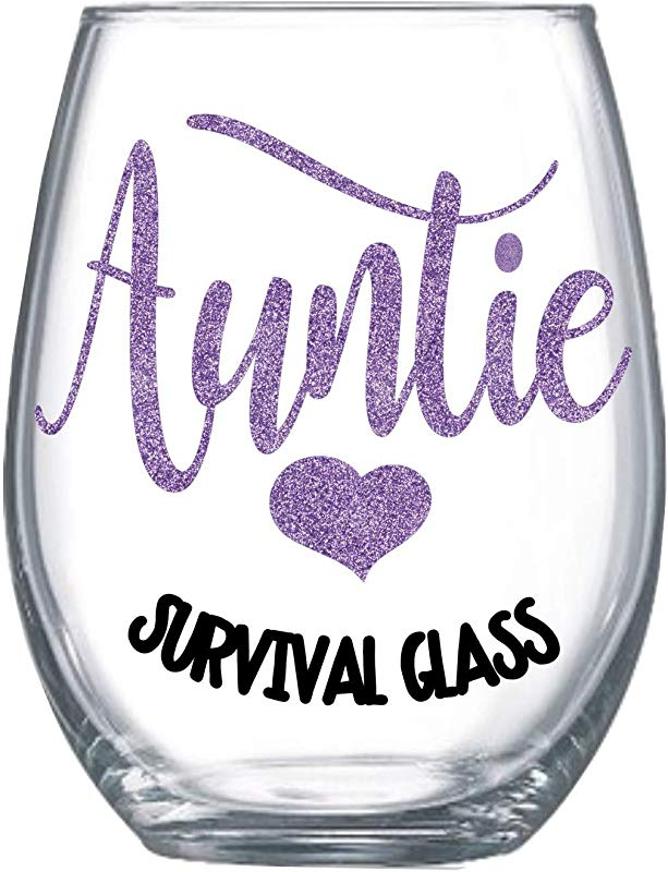 Birthday Gifts For Aunt From Niece Wine Glass Auntie Survival Glass 21oz Stemless 4