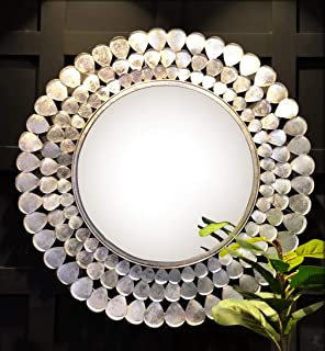 Logam Reyes Entryway Decorative Round Wall Mirror for Living Room, 91 X 91 cm (Shiny Silver)