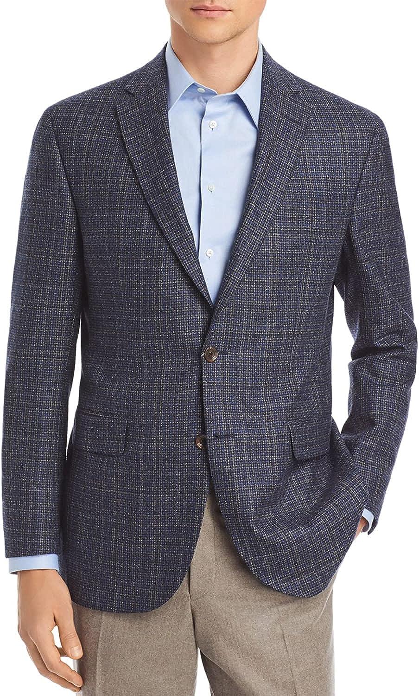 Jack Victor Mens Conway Textured Wool Sport Coat 46 Regular Black/Blue