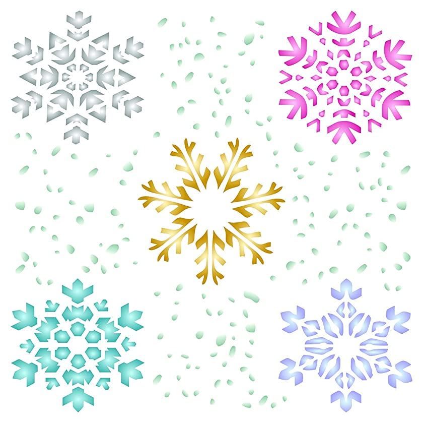 Snowflake Stencil - 4.5 x 4.5 inch (S) - Christmas Winter Large Reusable Wall Stencils for Painting - Use on Paper Projects Walls Floors Fabric Furniture Glass Wood etc.