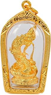 San jewelry Thai Power Amulets Magic Naga Wealth Gold Pendant Rich Lucky Charm Amulet Pendant