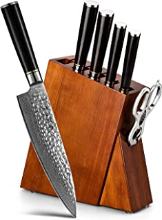 HEZHEN Acier Damas 7PC Ensemble de Couteaux de Cuisine avec Bloc en Bois, Ciseaux de Cuisine Multifonctions, Professionnel...