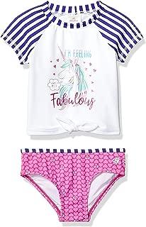 Skechers Girls' Little Swim Suit Set with Short Sleeve Rashguard