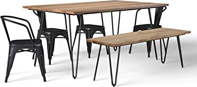 Simpli Home Larkin SOLID MANGO WOOD and Metal 66 inch Wide Industrial III 6 Pc Dining Set with Bench, 4 Upholstered Dining Chairs in Distressed Black and Silver