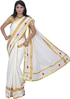 Women's Kerala Kasavu Embroidery With Jari Lace Brocade Pallu Saree With Blouse