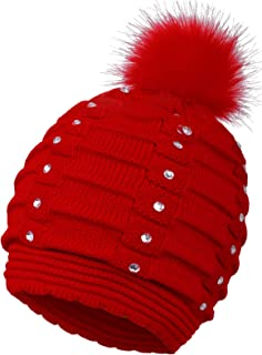 EPGM Women's Thick and Warm Knit Winter Pompom Beanie Hat w/Sequins
