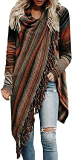 Tomsweet Women Cape Poncho Asymmetric Tassels Chic Cardigan Knit Coat Tops Jacket Fashion Elegant Casual Sweater Jumper
