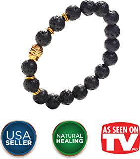 Earth Therapy Buddha Root Chakra Lava Rock Bracelet - Gold Plated Volcanic Lava Healing Buddha Bracelet for Men, Women, and Yogis