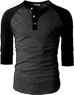 H2H Mens Casual Slim Fit Henley T-Shirts Raglan Baseball 3/4 Sleeve & Long Sleeve
