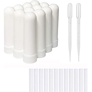 zison 12 Sets Essential Oil Aromatherapy Tubes Inhaler Sticks Blank Nasal Inhalers(12 Complete Sticks) + 2 Polyethylene Pipette Droppers