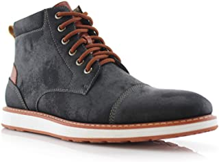 Ferro Aldo Birt MFA506027 Mens Memory Foam Casual Mid-Top Sneaker Desert Vegan Leather Chukka Boots