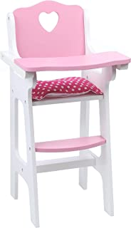 Beverly Hills Doll High Chair Wooden Feeding Furniture Accessories, Fits 18 Inch American Girl Doll. Made With Extra Durable Solid Wood