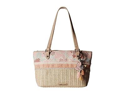 Sakroots Artist Circle Small Satchel (Petal Pink Flower Blossom) Satchel Handbags