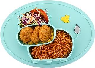 BPA gratuit et passe au lave-vaisselle Coque en silicone Set de table pour b/éb/és et enfants en charbon de bois Motif chat