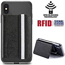Card Holder For Back of Phone Monet RFID Flip Wallet Cover Stand Multi Slot Case Pocket Credit Card Cash Attachment for iPhone,Samung Android,Most All Smartphones (Black)