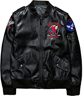 Men's Upscale Classic Police Style Faux Leather Motorcycle Jacket Flight Coat