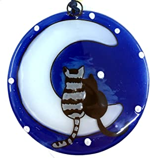 Ruth's Ethical Goods Cats on The Moon Christmas Tree Ornament - Art Glass Light Catcher