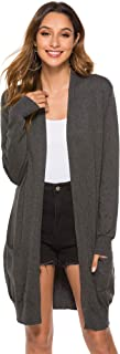 Womens Basic Fall Long Sleeve Lightweight Open Front Long Knit Cardigan Sweaters with Pockets