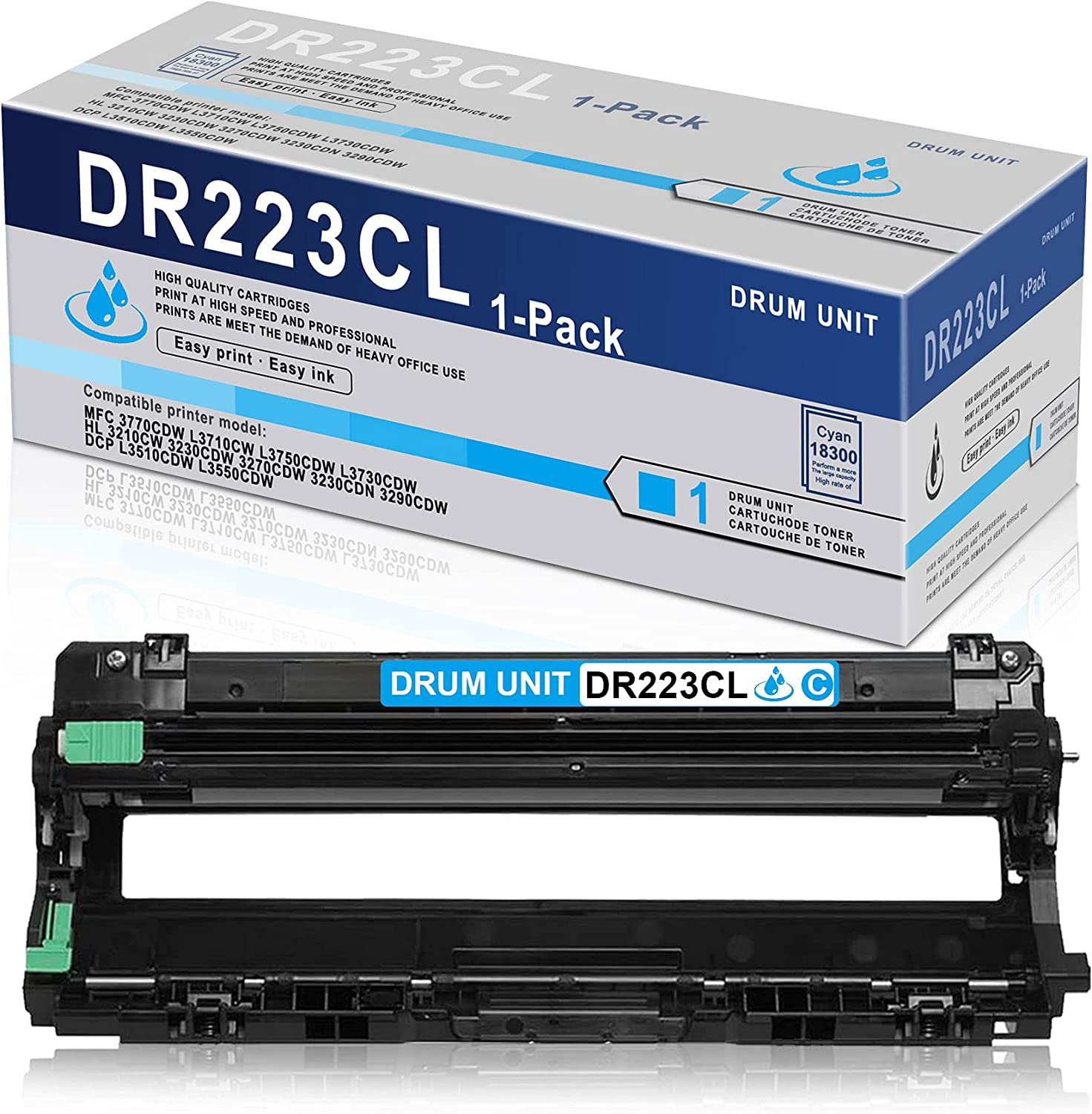 1 Pack Cyan High Yield Drum Unit DR223CL DR-223CL Compatible Replacement for Brother MFC 3770CDW L3710CW L3750CDW L3730CDW HL 3210CW 3230CDW 3270CDW 3230CDN 3290CDW DCP L3510CDW L3550CDW Printer