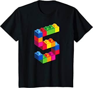 Kids 5 Year Old Building Blocks Birthday T Shirt Bricks 5th Gift T-Shirt