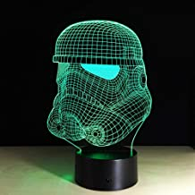 LXXYD 3D Visual Light Optical Illusion Led Night Light - Planetary Storm Cavalry Face Led Night Light 7 Color Change Bedsi...