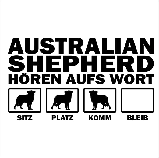 Siviwonder Auto Aufkleber Australian Shepherd Hunde Hören Aufs Wort Hundeaufkleber 30cm Black Auto