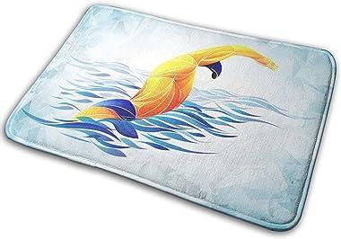 SNFDFS Alfombra De Baño Nadador Deportivo Azul Activo Hombre, Alfombra Absorbente Antideslizante, Alfombra De Baño De Microfi