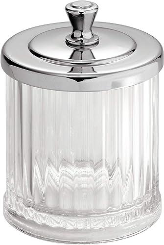 InterDesign Alston Cotton Pad Jar, Small Plastic Cotton Swab Jar, Clear/Chrome