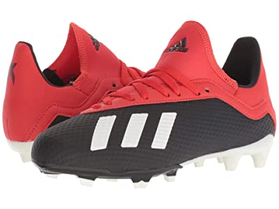 adidas Kids X 18.3 FG Soccer (Little Kid/Big Kid) (Black/Off-White/Grey) Kids Shoes