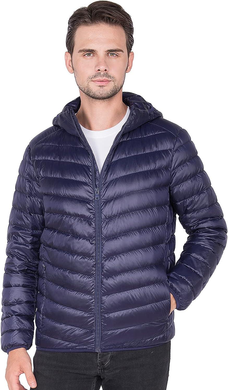 KIRAKIRABOOM Men Lightweight Down Jacket Full-Zip Puffer Coat Hooded Feather Jacket