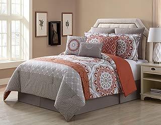 KingLinen 9 Piece Tibet Clay/Taupe 100% Cotton Comforter Set Queen