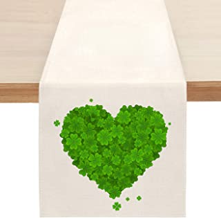 St. Patrick's Day Shamrock Table Runner, Spring Green Love Heart Clover Table Runners for Kitchen Dining Coffee or Indoor ...