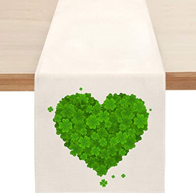 St. Patrick's Day Shamrock Table Runner, Spring Green Love Heart Clover Table Runners for Kitchen Dining Coffee or Indoor and Outdoor Home Parties Decor 13 x 72 Inches