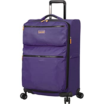 Lucas Designer Luggage Collection - Expandable 24 Inch Softside Bag - Durable Mid-sized Ultra Lightweight Checked Suitcase with 8-Rolling Spinner Wheels (Purple)