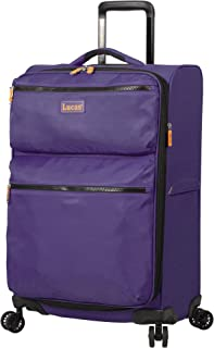 Lucas Luggage Ultra Lightweight Softside 24 inch Expandable Suitcase With Spinner Wheels (24in, Purple)