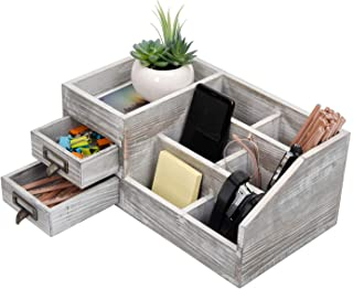 $31 » Distressed Rustic Wooden Office Desktop Organizer Wood Shelf Tabletop Home Organizer Storage with Multiple Compartments 2 Tier Drawers,Perfect Jewelry Storage Display Box for Desk, Vanity (Gray)