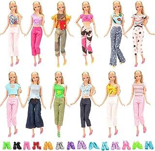 Miunana 15 Pcs Vêtements Accessoires De Poupée 5 Vêtements Vestes Pantalons & 10 Paires de Chaussures Aléatoire Pour Poupé...