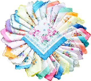 Womens Vintage Floral Cotton Handkerchiefs Wedding Party Bulk Pack