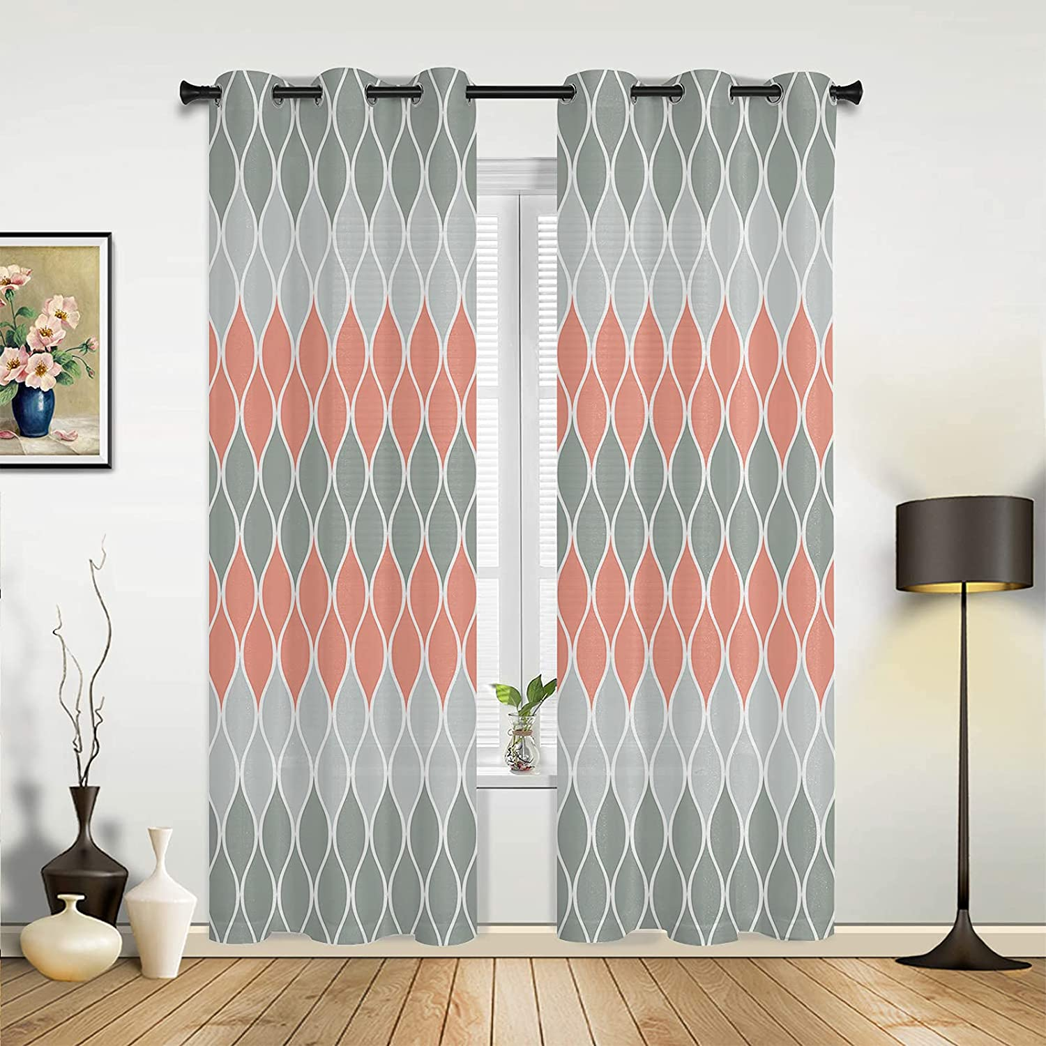 Max 85% Limited price OFF Window Sheer Curtains for Bedroom Grey Gradient Living Pink Room