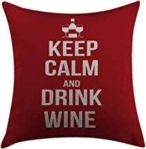 Mugod Decorative Throw Pillow Cover for Couch Sofa Home Decor,Keep Calm Wine Theme with a Bottle and Two Glasses Popular Slogan About Alcoholic Drink Ruby White Pillow case 18x18 Inch