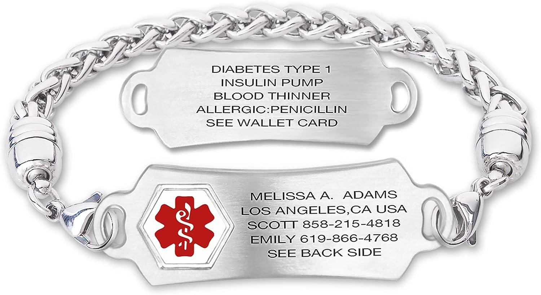Arlington Mall Divoti Custom Engraved Medical Alert for Women St Finally resale start Bracelets Men