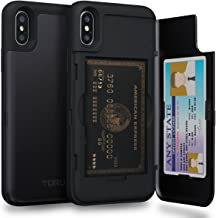 TORU CX PRO iPhone Xs Wallet Case with Hidden Credit Card Holder ID Slot Hard Cover & Mirror for Apple iPhone Xs (2018) / iPhone X (2017) - Matte Black