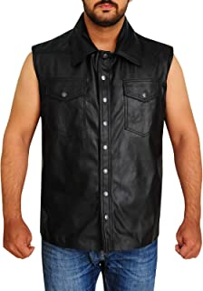 leather cut off waistcoat