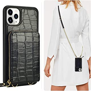 JLFCH iPhone 11 Pro Wallet Case, iPhone 11 Pro Crossbody Case with Zipper Credit Card Slot Holder Wrist Strap Lanyard Women Girl Crocodile Grain Protective for iPhone 11 Pro 5.8 inc - Black