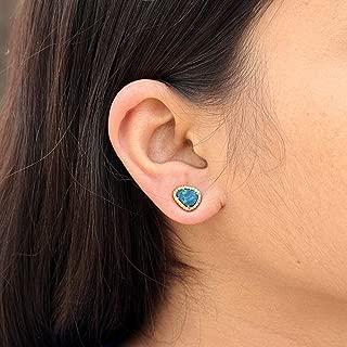 18k Solid Yellow Gold Genuine 1.24 Ct Opal Gemstone Diamond Pave Stud Earrings Jewelry