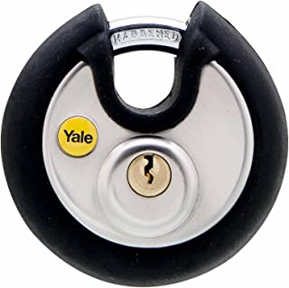 Yale Y130/70/116/1 Marine Grade Stainless Steel Disc Lock with Rubber Bumper, 2-3/4-Inch Wide