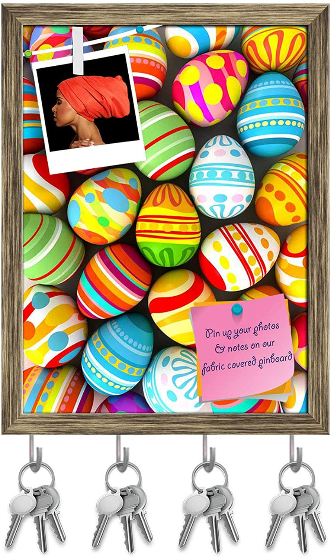 Artzfolio Happy Easter Key Holder Hooks   Notice Pin Board   Antique golden Frame 12 X 16Inch