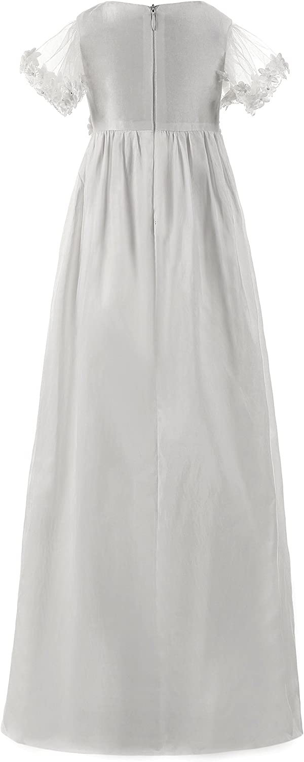 Abaowedding Baby Girl Long Christening Dresses Stain Baptism Gowns with Hat and Headband