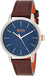 Hugo Boss Men's Blue Dial Genuine Leather Band Watch - 1550057