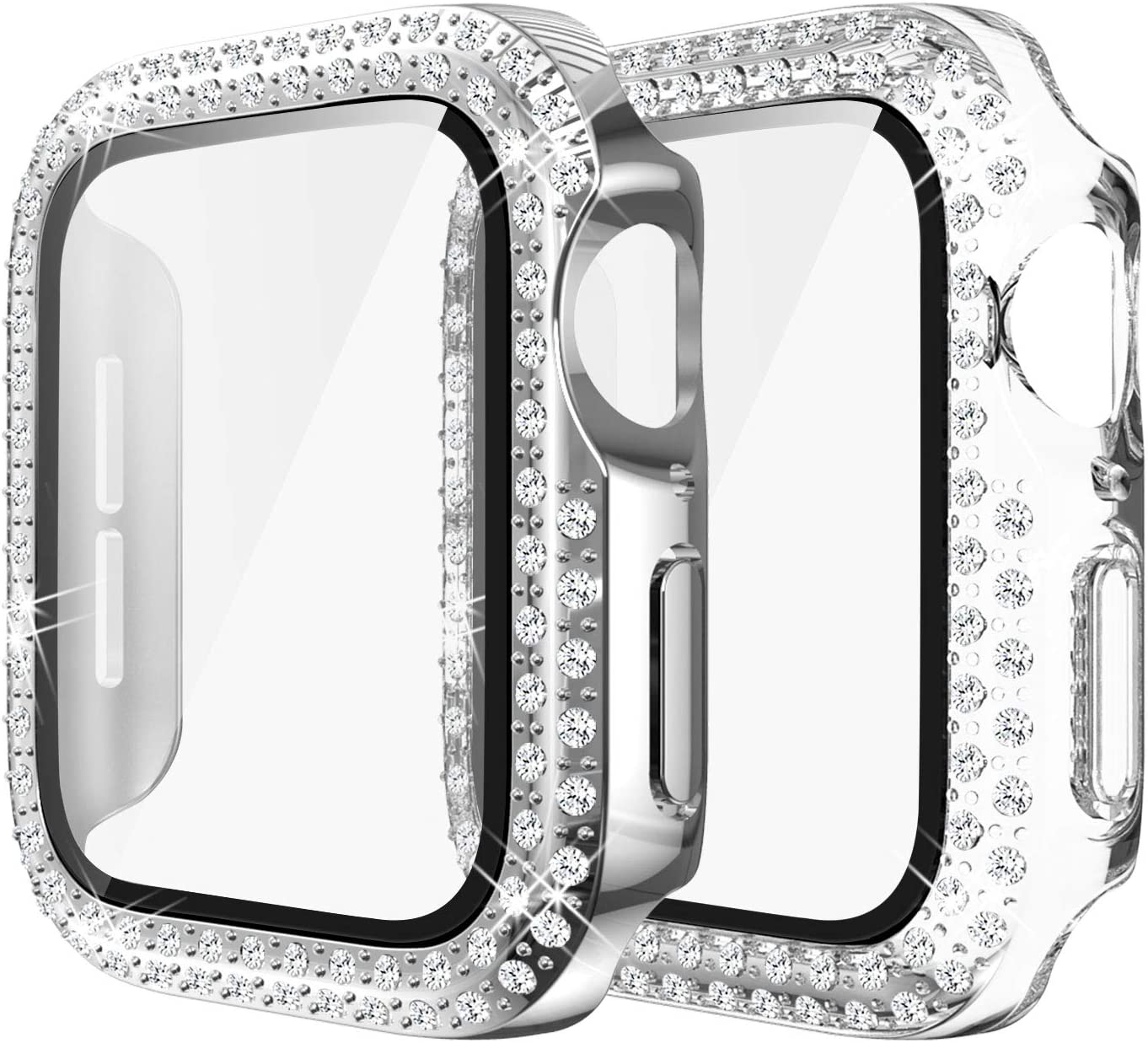 Yolovie (2-Pack) Compatible for Apple Watch Case with Screen Protector 42mm Series 3/2/1, Bling Cover Diamonds Rhinestone Bumper Protective Frame for iWatch Girl Women (Clear/Silver)
